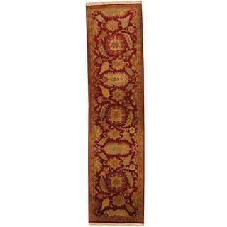 Herat Oriental Indo Hand-knotted William Moris Red/ Gold Wool Runner (2'6 x 9'10)
