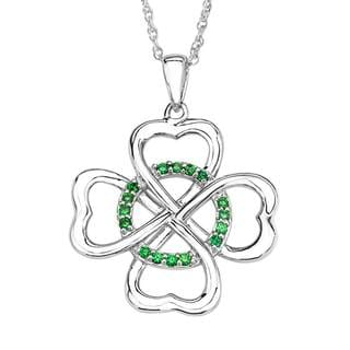 Sterling Silver Cubic Zirconia Clover Pendant