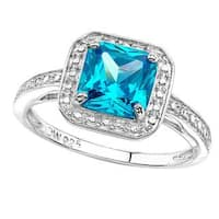 Sterling Silver Cushion-cut Cubic Zirconia Ring