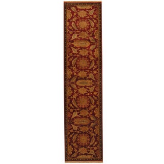 Herat Oriental Indo Hand-knotted William Moris Red/ Black Wool Runner (3' x 12'10)