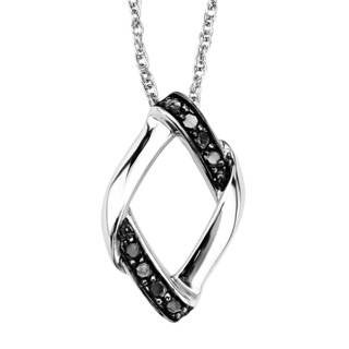 Sterling Silver 1/8ct TDW Black Diamond Pendant