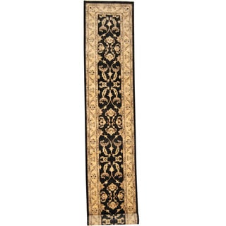 Herat Oriental Indo Hand-knotted Oushak Black/ Ivory Wool Runner (2'7 x 16'2)