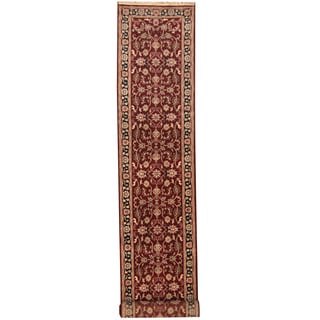 Herat Oriental Indo Hand-knotted Kashan Red/ Black Wool Runner (2'9 x 16'2)
