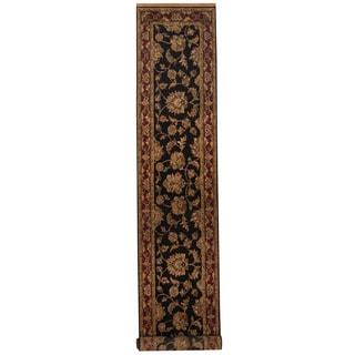Herat Oriental Indo Hand-knotted Khorasan Black/ Red Wool Runner (2'7 x 13'10)