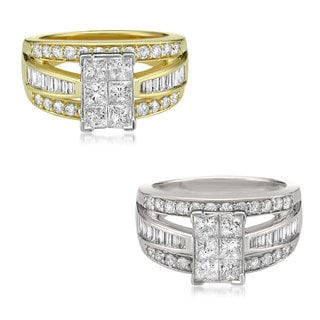14k Gold 2ct TDW Princess-cut Composite White Diamond Engagement Ring (H-I, SI2-I1)