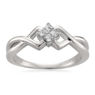 Montebello Jewelry 14k White Gold 1/6ct TDW Princess-cut Diamond Composite-set Engagement Ring (H-I, I1-I2)