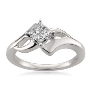 Montebello Jewelry 14k White Gold 1/5ct TDW Princess-cut Diamond Composite-set Engagement Ring (H-I, I1-I2)