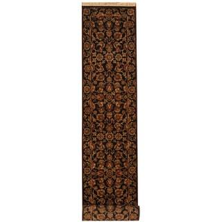 Herat Oriental Indo Hand-knotted Khorasan Black/ Gold Wool Runner (2'7 x 13'6)