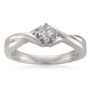 Montebello Jewelry 14k White Gold 1/7ct TDW Princess-cut Diamond Composite-set Promise Ring