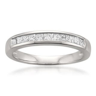 Montebello Jewelry Platinum 1/2ct TDW Princess-cut White Diamond Channel-set Wedding Band (H-I, I1)