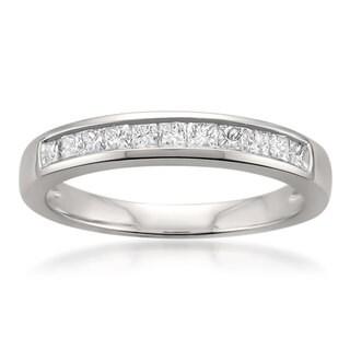 Montebello Jewelry Platinum 1/2ct TDW Princess-cut White Diamond Channel-set Wedding Band