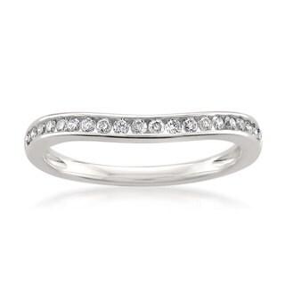 Montebello Jewelry 14k White Gold 1/4ct TDW Diamond Contoured Wedding Band (H-I, SI1-SI2)