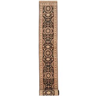 Herat Oriental Indo Hand-knotted Kashan Black/ Ivory Wool Runner (2'7 x 23'8)