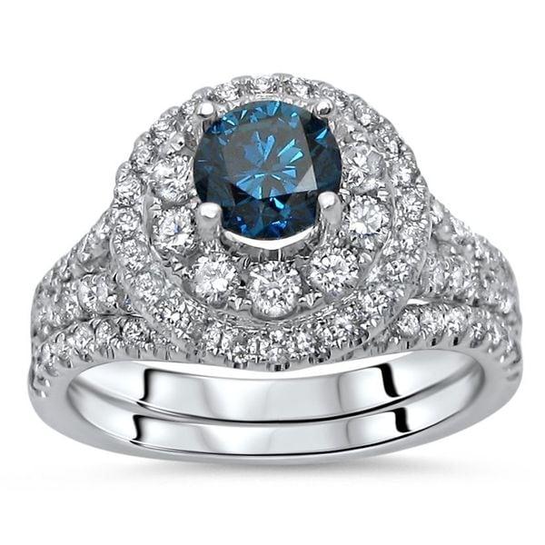 248c511912b ... Wedding Rings     Bridal Sets. Noori 14k White Gold 1 3 4ct TDW  Certified Blue Diamond 2-piece Bridal