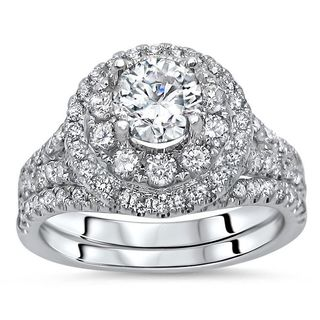Noori 14k White Gold 1 3/4ct TDW Round Diamond Enhanced 2-piece Engagement Bridal Set (G-H, SI1-SI2)