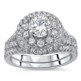 Noori 14k White Gold 1 1/2ct TDW Diamond Enhanced 2-piece Engagement Bridal Set