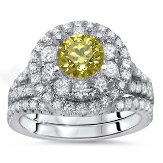 Noori 14k White Gold 1 1/2ct TDW Certified Yellow Diamond 2-piece Engagement Bridal Set