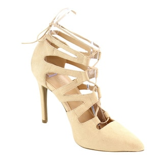 Wild Diva Caged Lace Up Pumps