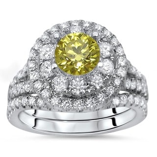 Noori 14k White Gold 1 3/4ct TDW Certified Canary Yellow Diamond 2-piece Engagement Bridal Set