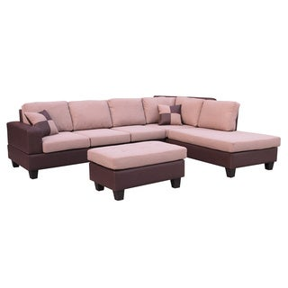 Sentra Fabric Right Facing Sectional with Ottoman Set