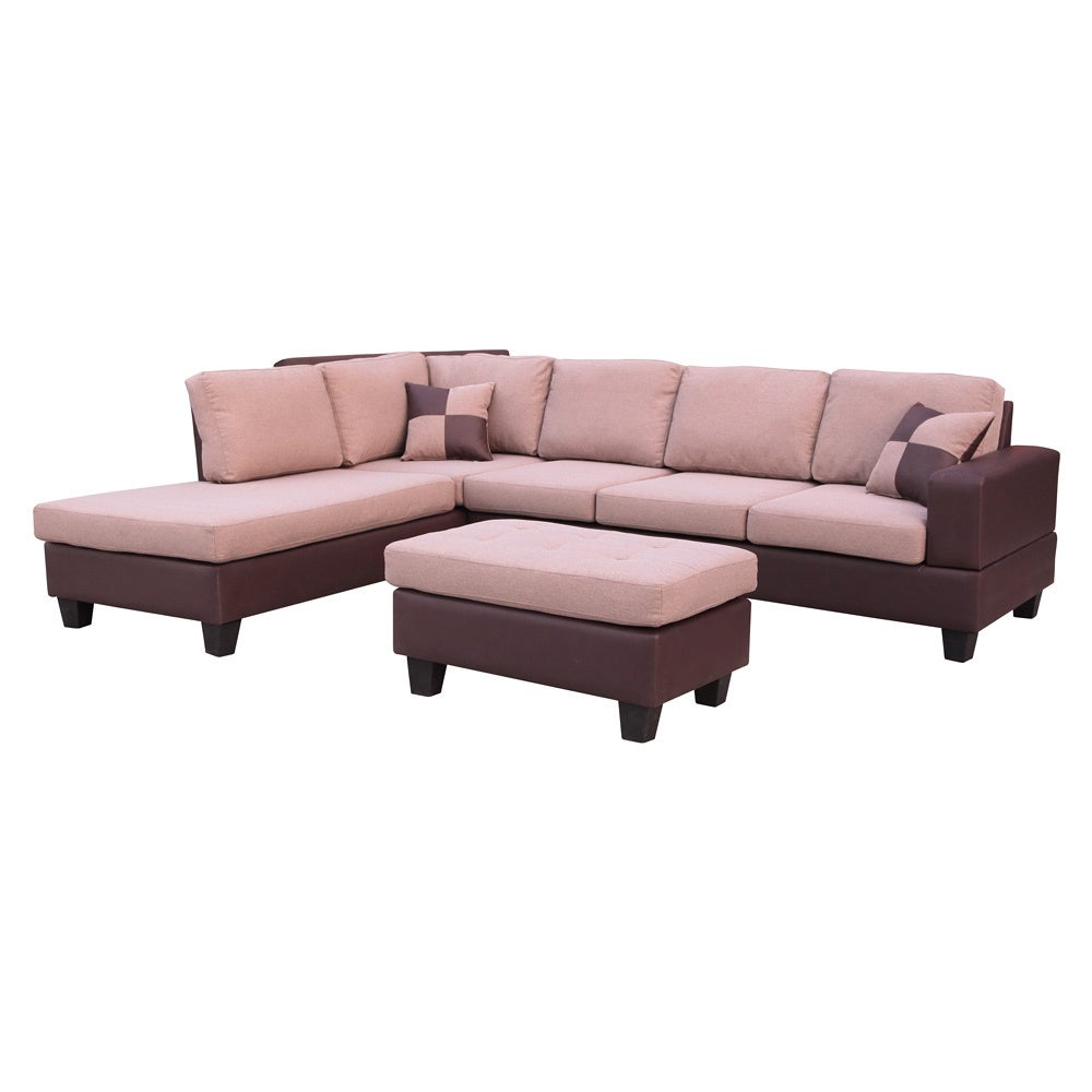 Sentra Fabric Left Facing Sectional with Ottoman Set (Siz...