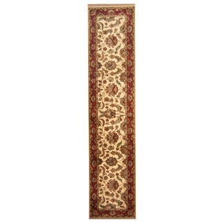 Herat Oriental Indo Hand-knotted Mahal Ivory/ Red Wool Runner (2'6 x 11'6)