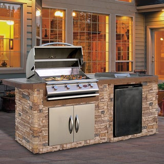 Cal Natural Stone Stainless Steel 7 Foot 4 Burner Grill Island With Tile Top