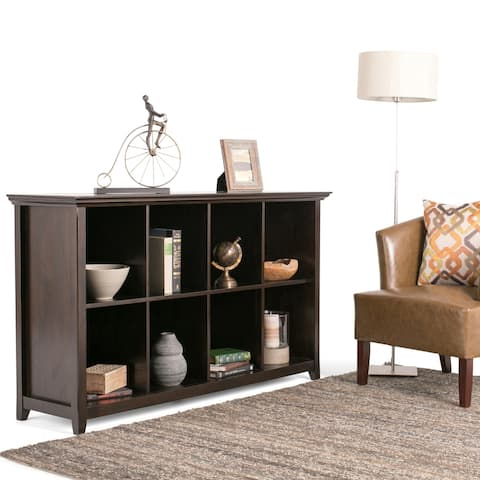 WYNDENHALL Halifax SOLID WOOD 57 inch Wide Transitional 8 Cube Bookcase Storage Sofa Table in Dark Brown