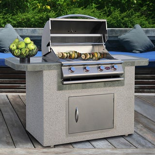 Cal Flame Stucco and Tile Stainless Steel 6 Foot 4 Burner Grill Island