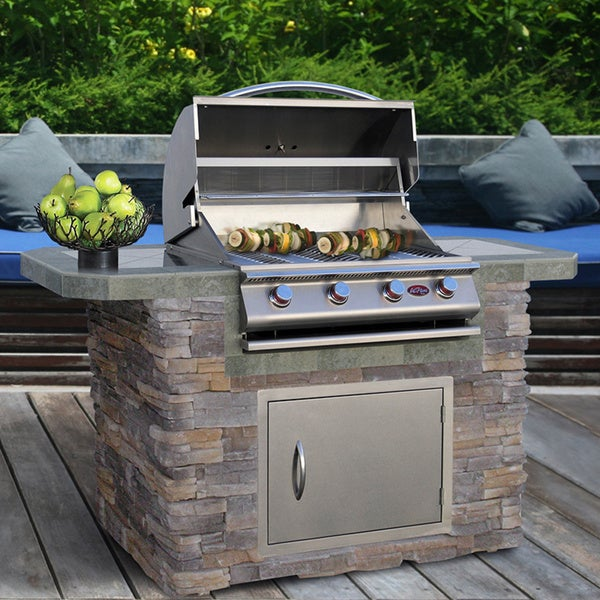 Cultured stone stainless steel grill island 6ft 4 burner for Home goods outdoor kitchen