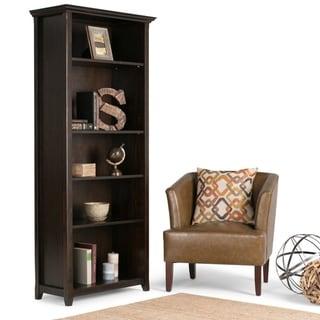 """WYNDENHALL Halifax Solid Wood 70 inch x 30 inch Transitional 5 Shelf Bookcase - 30""""w x 14""""d x 70"""" h"""