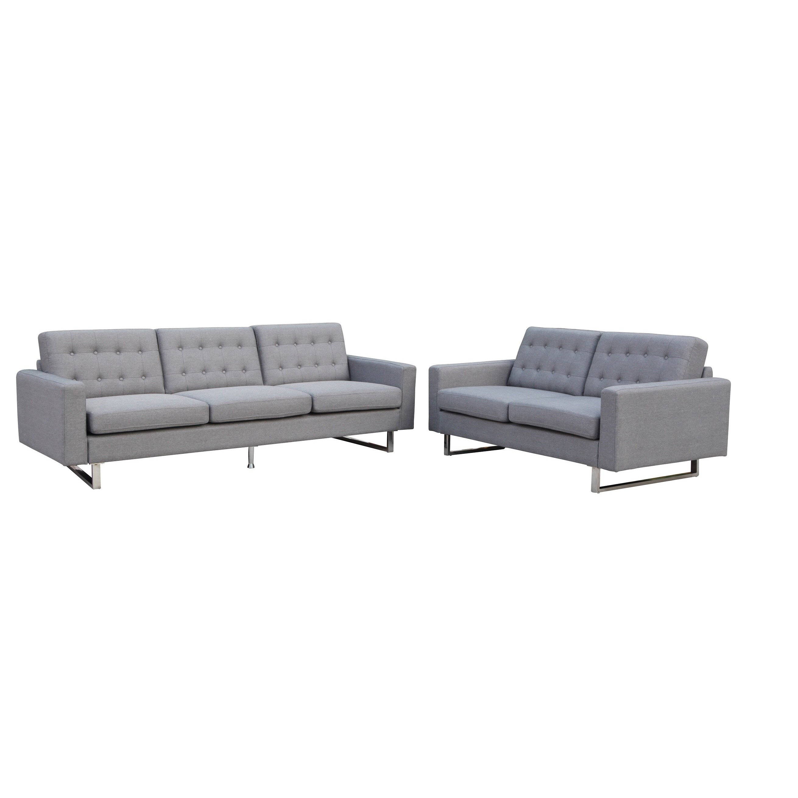 Mid-Century Modern Benava Fabric Sofa and Loveseat Set