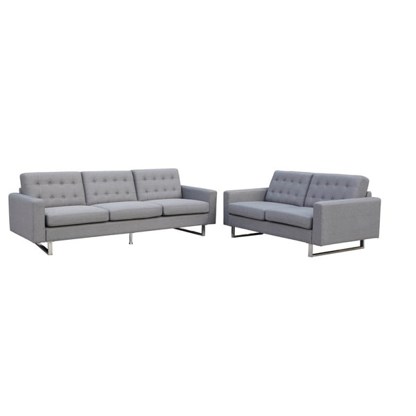 Mid-Century Modern Benava Fabric Sofa and Loveseat Set