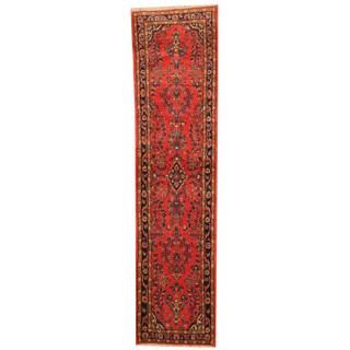 Herat Oriental Persian Hand-knotted Sarouk Salmon/ Navy Wool Runner (2'6 x 10'4)