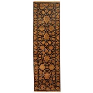 Herat Oriental Indo Hand-knotted Khorasan Black/ Gold Wool Runner (3' x 10'2)
