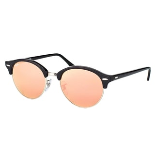 Ray-Ban RB 4246 1197Z2 Clubround Wrinkled Black on Black Plastic Clubmaster Pink Mirror Lens Sunglasses