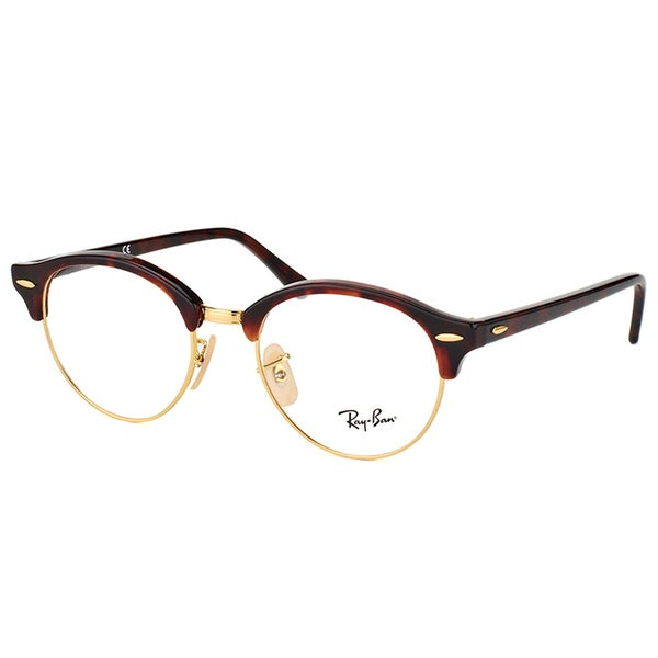 shop ray ban rx 4246v 2372 clubround red havana and gold plastic clubmaster 49mm eyeglasses. Black Bedroom Furniture Sets. Home Design Ideas