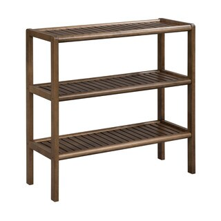 New Ridge Home Abingdon Solid Birch Wood Antique Chestnut Large 3-shelf Console