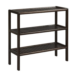 New Ridge Home Abingdon Solid Birch Wood Espresso 3-Shelf Large Console