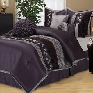 nanshing riley purple 7piece bedding comforter set option california king