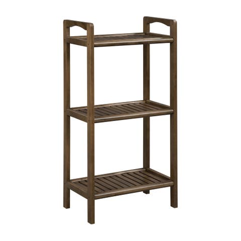 NewRidge Home Solid Wood 3 Shelf Tower with Antique Chestnut Finish