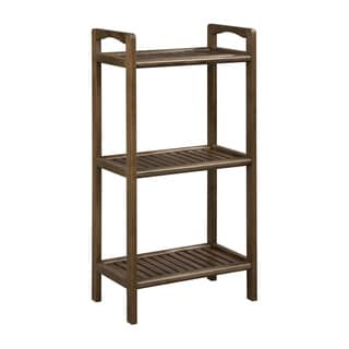 New Ridge Home Solid Birch Wooden 3 Shelf Tower with Antique Chestnut Finish