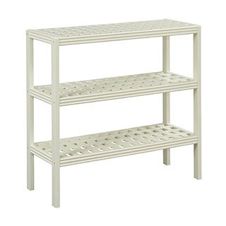 New Ridge Home Beaumont Solid Birch Wood Linen 3-shelf Console