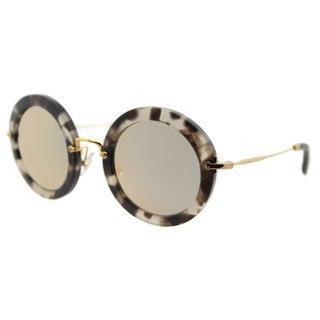 Miu Miu MU 13NS UBB2D2 Sand Beige Havana Plastic Round Gold Mirror Lens Sunglasses