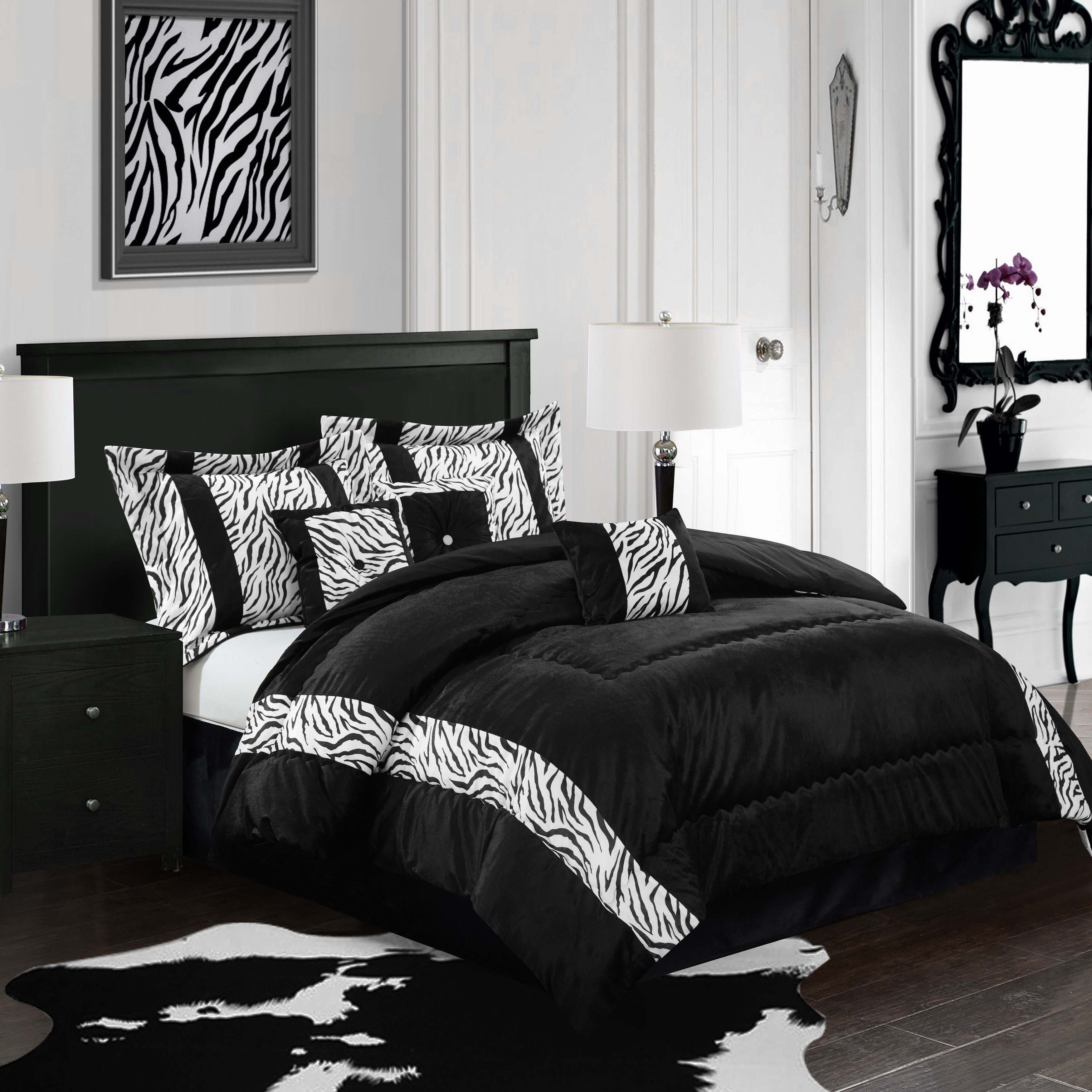 Nanshing Mali 7-piece Bedding Comforter Set (Queen), Blac...