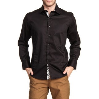 TR Premium's Printed Trim Long Sleeve Button Down Shirt