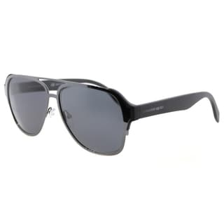 Alexander McQueen AM 0012S 003 Ruthenium Black Metal Aviator Grey Lens Sunglasses