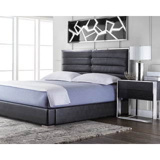 Sunpan Black Faux Leather Avalon Bed