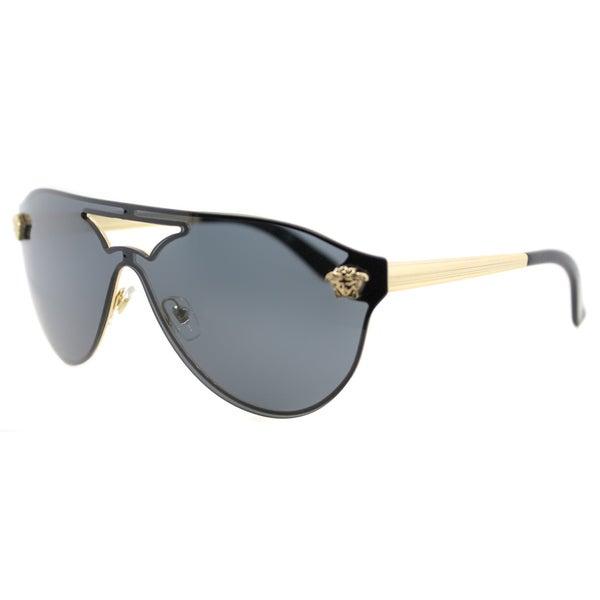 55dd381ffc7 Shop Versace VE 2161 100287 Gold Metal Aviator Grey Lens Sunglasses ...