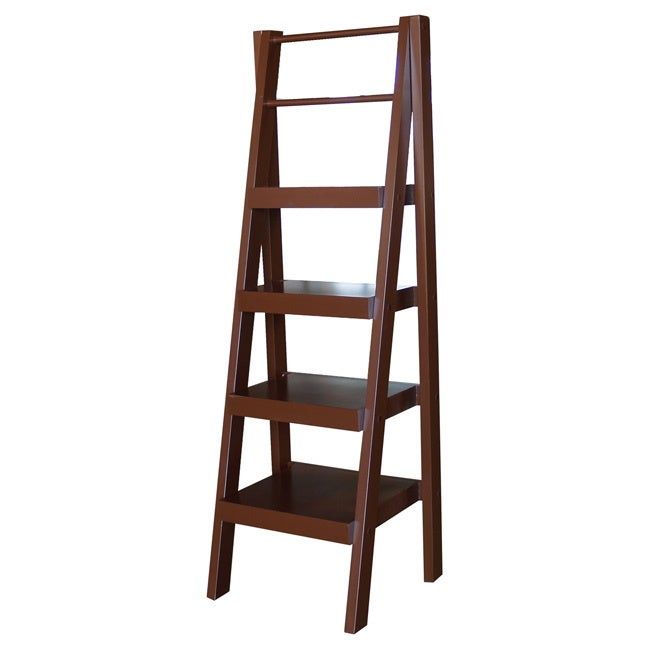 PROMAN Sante Fe 4 Shelf Ladder Storage Unit, Brown
